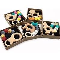 Kissteether 5pcs ベビーテザーカスタムオーガニック木製の動物は、遊ぶジムおもちゃ赤ちゃん歯があるおもちゃシリコーンテイザー BPA無料DIY赤ちゃん歯があるおもちゃ (色 15)