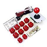 Reyann アーケードゲームジョイスティックDIYキットゼロ遅延USBエンコーダ+ 10プッシュボタン+ジョイスティック&MAME&RetroPie DIYプロジェクト用赤色