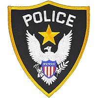 ミリタリーパッチ POLICE シールド型 アイロンシート付 小