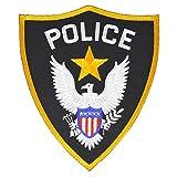 POLICE ミリタリーパッチ POLICE シールド型 アイロンシート付 小