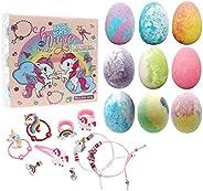 Unicorn Bath Bomb Gift Set with Jewelry Inside, 9 Pack Organic Bath Bomb Gift Set for Kids, Magic Unicorn Bath