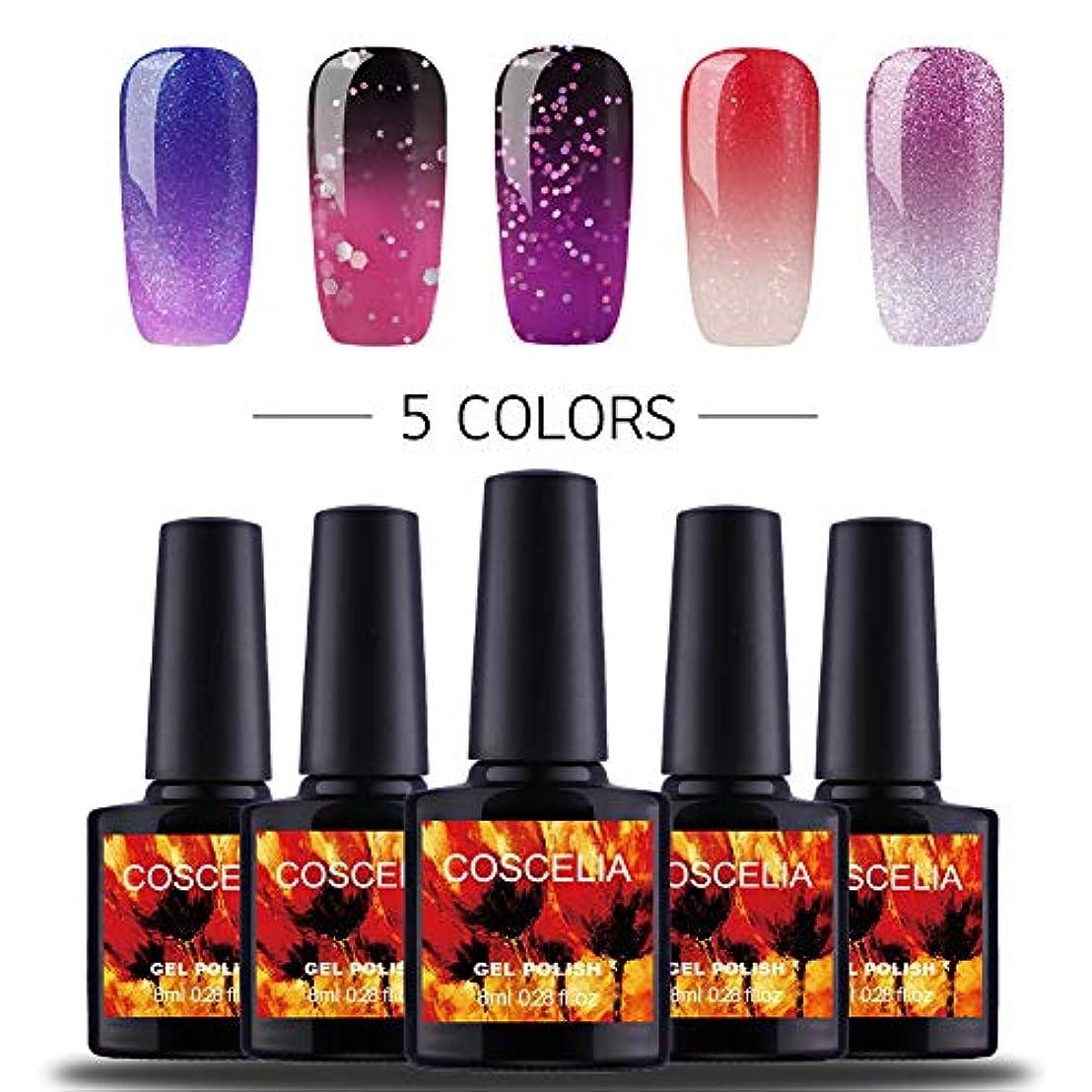 経営者最も遠いピッチTwinkle Store ジェルネイル カラー セットカメレオンカラージェル 温度により色が変化 5色入り 8ml (JP-A2XX1-5A)