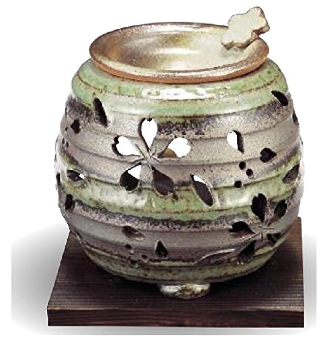 うなり声遠足マットレス常滑焼 茶香炉(アロマポット)径10×高さ9cm