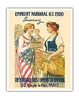 ナショナル・ローン1920 - 購読します - ニューヨーク、パリの公平信託会社 - ビンテージな広告ポスター によって作成された ギラウーム・セイニャック c.1920 - アートポスター - 41cm x 51cm