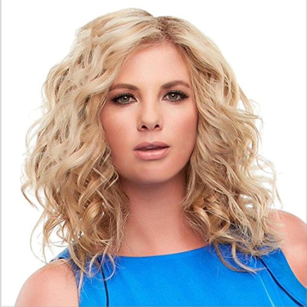 行政光の社員YOUQIU 化学繊維の女性のかつらユースレディースロングカーリーナチュラルカラーウィッグを有する中間前髪髪の耐熱ウィッグの長さについては65センチメートルウィッグ (色 : ゴールド)