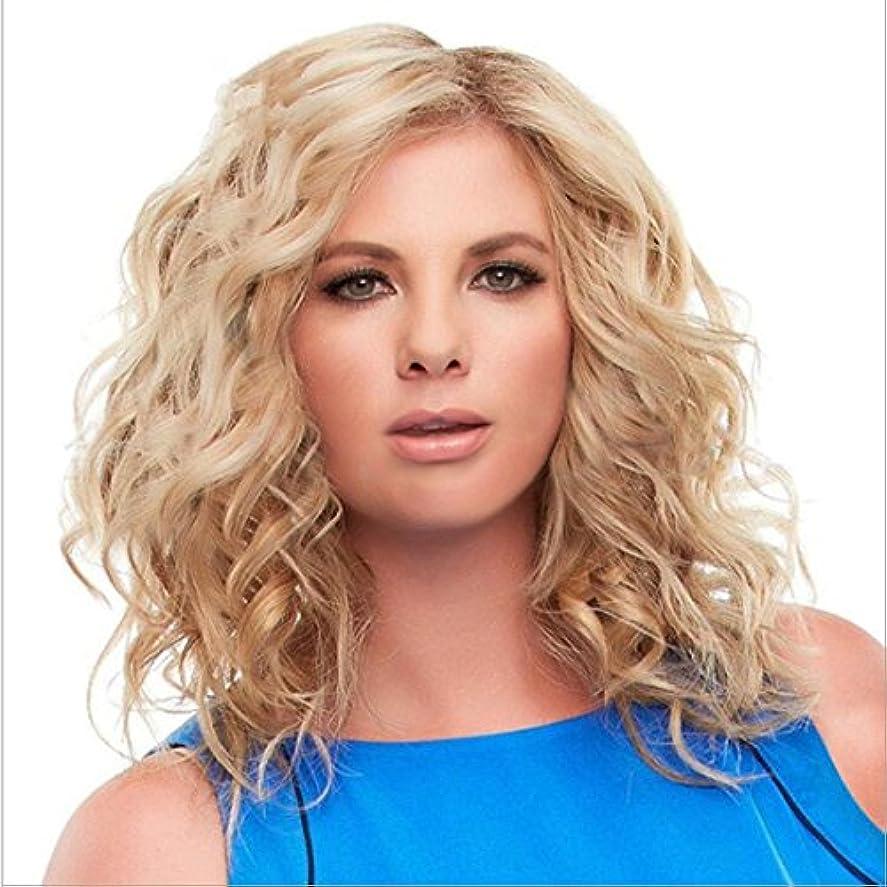 海賊実り多い溶融YOUQIU 化学繊維の女性のかつらユースレディースロングカーリーナチュラルカラーウィッグを有する中間前髪髪の耐熱ウィッグの長さについては65センチメートルウィッグ (色 : ゴールド)