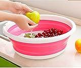 折りたたみ洗面器 アウトドアたらい 旅行用 ポータブル 洗濯たらい 超軽量 (ピンク)