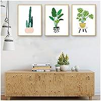 サボテングリーン植物壁アートキャンバス絵画プリントとポスター現代の壁写真用リビングルーム家の装飾40×50センチ×3なしフレーム