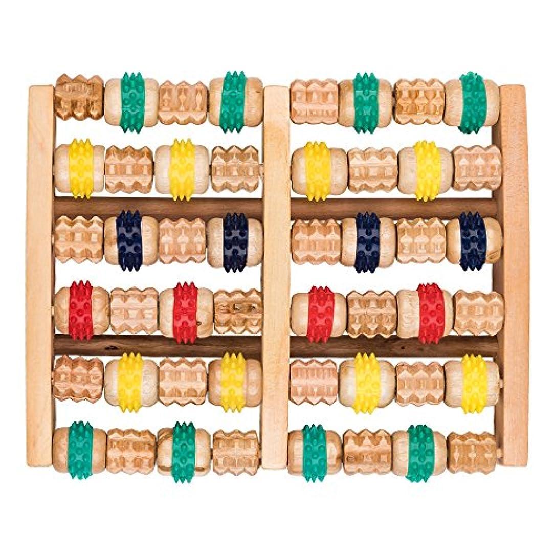 確かにつぶやき関与する竹マッサージャー 足底ポイントマッサージャー 天然木製カラー 6列足底マッサージャー フットミニマッサージャー 家庭用木製フットバスマッサージャー