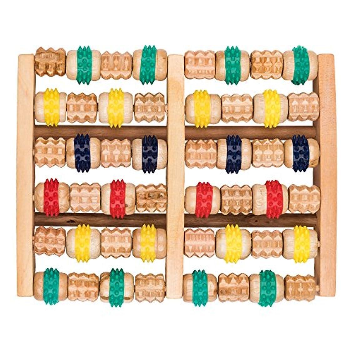 アジャ通り抜ける解き明かす竹マッサージャー 足底ポイントマッサージャー 天然木製カラー 6列足底マッサージャー フットミニマッサージャー 家庭用木製フットバスマッサージャー