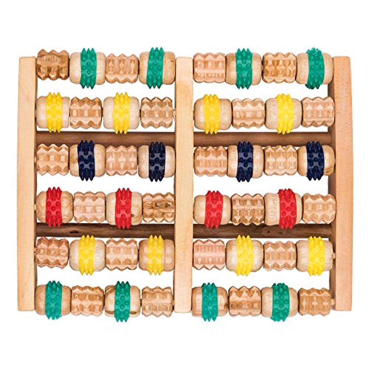 巻き取りワードローブ好意的竹マッサージャー 足底ポイントマッサージャー 天然木製カラー 6列足底マッサージャー フットミニマッサージャー 家庭用木製フットバスマッサージャー