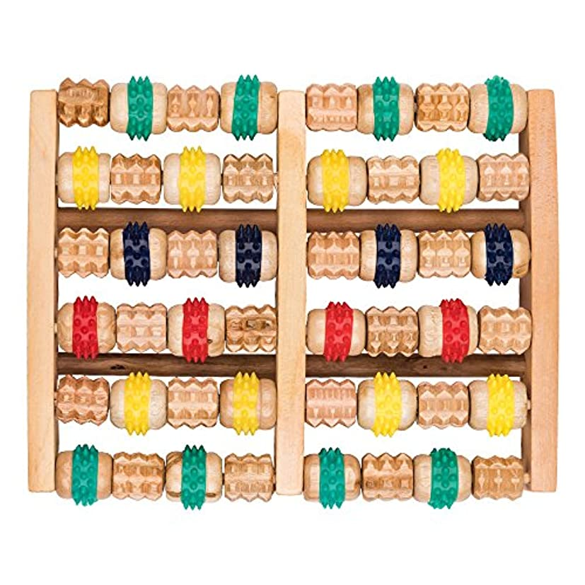 前進商人漫画竹マッサージャー 足底ポイントマッサージャー 天然木製カラー 6列足底マッサージャー フットミニマッサージャー 家庭用木製フットバスマッサージャー