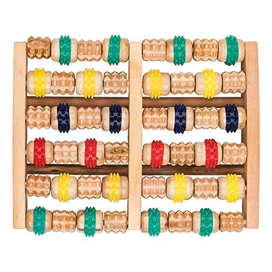 新鮮なアメリカに対処する竹マッサージャー 足底ポイントマッサージャー 天然木製カラー 6列足底マッサージャー フットミニマッサージャー 家庭用木製フットバスマッサージャー