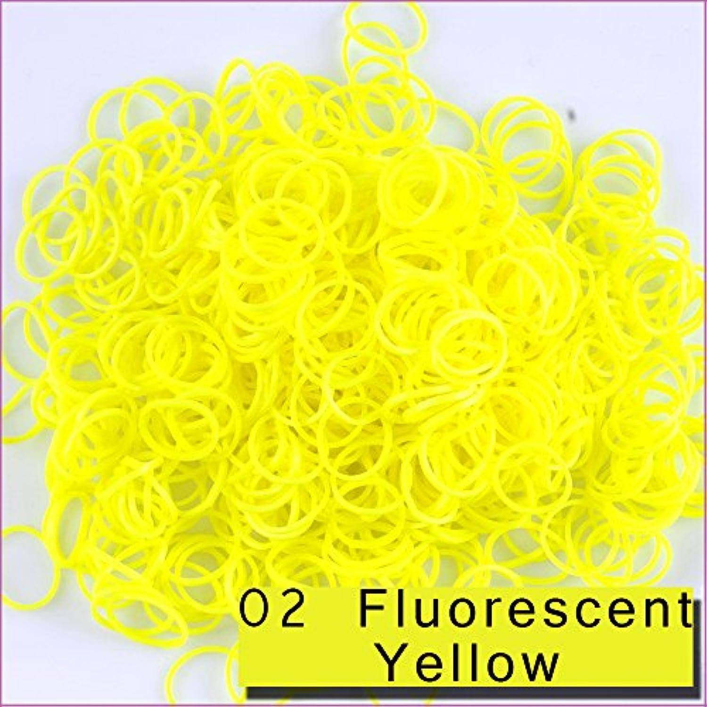 Kirinstores (キリンストア) ® 3600 本 クリップ 144 個 ゴムバンド レフィル Loom Rainbow Refill Bands Bracelets Dress Making (ルーム レインボー ブレスレット ドレス メーキング) -Fluorescent Yellow 黄色
