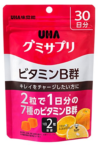 UHAグミサプリ ビタミンB群 オレンジ&グレープフルーツ味 スタンドパウチ 60粒 30日分