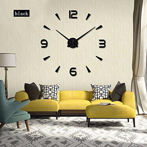 Muhsein DIY 手作り 壁掛け 時計 デザイン インテリア クロック ウォールクロック ウォールステッカー 部屋装飾 模様替えに  簡単 おしゃれ! (ブラック)