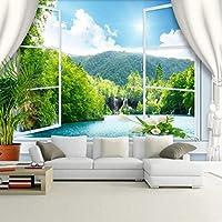 Mingld 3D壁画壁紙リビングルームのテレビソファ背景中国風の山と川の壁紙の美しい風景-350X250Cm