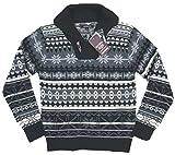 (ロックヘブン)Lock Heaven フェアアイル 雪柄 ショールカラー ジャガード ニット セーター M BLACK(ブラック×グレー系)