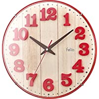 Felio(フェリオ) 壁掛け時計 ブリュレ アナログ表示 連続秒針 レッド FEW181R-Z