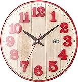 Felio 置き時計・掛け時計 レッド (約) 高さ30.8×幅.30.8×奥行き5.7cm