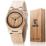 CUCOL レディース 竹の刻印 牛革 ベルト 腕時計 木製ケース アナログ クォーツ 腕時計