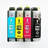 Amazon.co.jp【MIRAKU INK】 ICチップ付き ブラザー LC110-4PK 対応 互換インクカートリッジ お得4色パック 【新機種対応】 対応プリンター機種:DCP-J152N/ DCP-J132N/ DCP-J137N (110-4色×1セット(計4個))