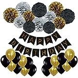 誕生日パーティーの装飾 耐久性 高品質ブラックシルバーとゴールド 20個