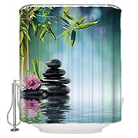 シャワーカーテン 日本の禅ガーデンストーン竹 防水 防カビ 加工 バスルーム 風呂 浴室 カーテン 間仕切り 遮像 デコレーション リング付属 取り付け簡単 幅120x高さ180cm