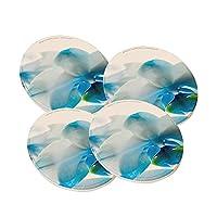 Orchidホワイトとターコイズ–ラウンド砂岩Drink Coaster ( Set of 4) by要素のスペース
