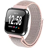 AOLVO for Fitbit Versa Band for Women Nylon Replacement Strap Soft Nylon Watch Sport Loop Band Adjustable Closure Wrist Strap Breathable Woven,Light Pink