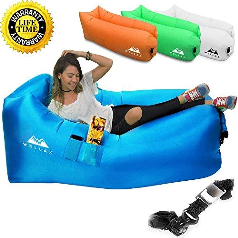 探検起きる寄付するWeelaX Inflatable Lounger - Best Air Lounger for Travelling, Camping, Hiking - Ideal Inflatable Couch for Pool and Beach Parties - Perfect Air Chair for Picnics or Festivals (Blue) [並行輸入品]