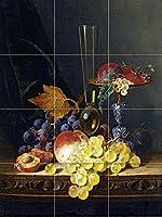 """Still Life with a Tazza Fruit and aエドワード・Ladellワインガラスタイル壁画キッチンバスルーム壁後ろの油ストーブ範囲シンク止め板3x 44.25インチセラミック、光沢 4.25"""" Ceramic, Matte S272__3x4_4.25iCerMat_Tile_Mural"""