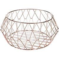 MyGift rose-gold幾何メタルワイヤストレージバスケット
