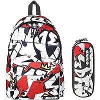 Bonne Backpack with Matching Pencil Case Value Pack - Unisex Design Ruge