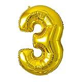 YOU+ バルーン 数字 ナンバーバルーン 80cm/90cm ゴールド/シルバー (ナンバー3, ゴールド)