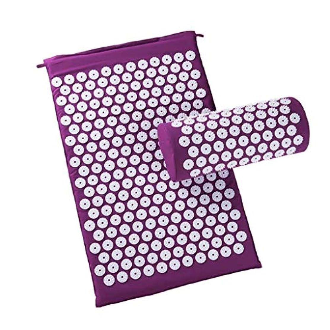 バスルームジャグリング調整可能マッサージャー、フィンガーパッド/枕カバー、背中、首、坐骨神経痛の痛み/圧力を和らげる、筋肉の弛緩 (Color : 紫の)