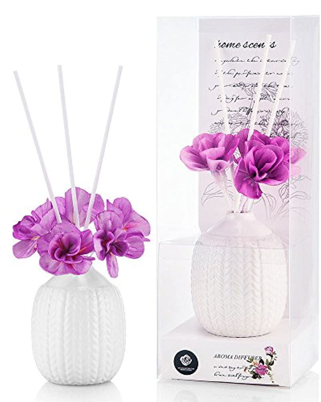 適用済みアルプスクロスパステルカラー ルームフレグランス /芳香剤 アロマ スティック リードディフューザー (花:紫、香:ラベンダー)