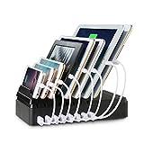lvshan 8ポートUSB充電器(CS008)、2.4A急速充電、収納型充電スタンド、USB充電器、充電スタンド、タブレットPCも充電対応可能、オフェンス用、チャージャーステーション (黒い)