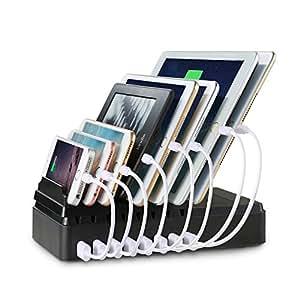 lvshan 8ポートUSB充電器(CS008)、収納型充電スタンド、USB充電器、2.4A急速充電、充電スタンド、チャージャーステーション (黒い)