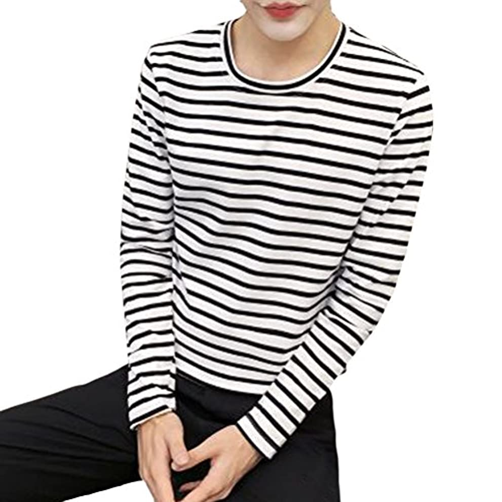 黄ばむイサカ魅了する輝姫 ブラウス メンズ  長袖  シャツ 横縞 ラウンドネック Tシャツ 秋春 ファッション 通学 通勤 カジュアル (L, ホワイト)
