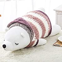 Birdlanternポータブル耐久性のある漫画ぬいぐるみ枕シロクマ人形かわいい人形枕ランチ休憩睡眠枕(革赤(シロクマ)(55 cm))