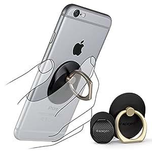 【Spigen】 スマホ リング, Style Ring [ 落下防止 + スタンド機能 + 車載ホルダー ] iPhone6s / iPhone6s Plus / iPhone 6 / Plus / 5s / 5 / 5c / iPad Mini / iPad Air / Galaxy / Xperia / スマートフォン・タブレットPC 対応 (ブラック ゴールドリング 【SGP11676】)