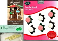 CybrtraydローズMini Make N ' Moldチョコレート型Chocolatierの25チェロバッグ、25のバンドルゴールドツイスト紐とChocolatierのガイド
