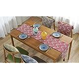 [Ziv-Nat] テーブルランナー 赤 レッド 32×220cm 北欧 モダン 幾何模様 おしゃれ 洗える ジャカール アジアン 和風 ペンダント付き