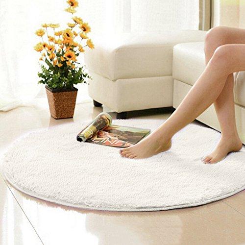 Jiyaru ラグ カーペット 円形 ラグマット ホットカーペット 120cm シャギー 丸い マット マイクロファイバー 絨毯 ブランケット チェアマット 折り畳み 滑り止め付き 床暖房対応 ホワイト