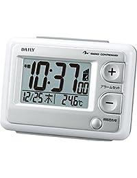 リズム時計 目覚まし時計 電波 デジタル ジャストウェーブR095DN 温度 カレンダー 表示 白 DAILY ( デイリー ) 8RZ095DN03