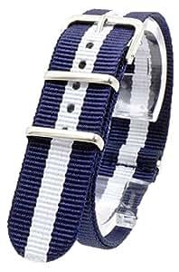 【 気分に合わせて簡単交換 】 ( マリーン/ネイビー/ホワイト 20mm ) NATO タイプ 時計ベルト ナイロン ストラップ 2PiS 【 交換マニュアル付 】
