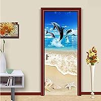 Lcymt サンディビーチシェルヒトデイルカ3D壁画壁紙用リビングルーム寝室のドアステッカーウォールペーパー自己接着-250X175Cm