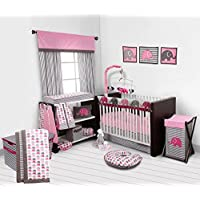 Bacati 10-Piece Elephants Nursery-In-A-Bag Crib Bedding Set with Long Rail Guard Pink/Grey [並行輸入品]