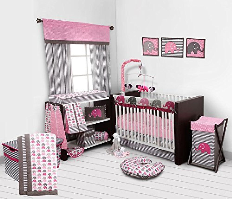 Bacati 10-Piece Elephants Nursery-In-A-Bag Crib Bedding Set with Long Rail Guard Pink/Grey [並行輸入品]